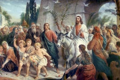 Palm Sunday - Jesus rides into Jerusalem on a donkey